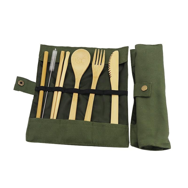 Wooden bamboo Cutlery Set Reusable With Zero Waste Fork Spoon Knife