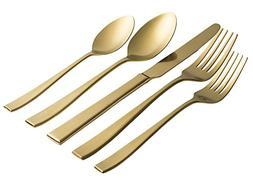Jaf Gifts 20 Piece Matte Gold Flatware Set - Stainless Steel