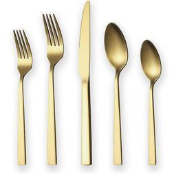matte gold stainless steel silverware golden flatware