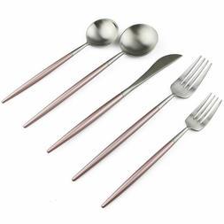 Matte Silver 304 Stainless Steel Flatware Set Dishwasher Saf