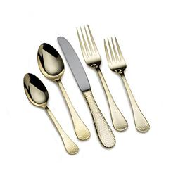 Mikasa 5183587 Mila Gold Plated 45-Piece Stainless Steel Fla