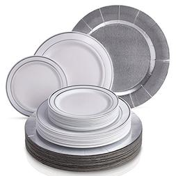 MODERN ELEGANT DISPOSABLE 60 PC DINNERWARE SET | Heavy Duty