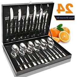 Modern Flatware Set Kitchen Silverware Large Cutlery Stainle