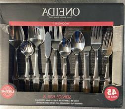 Oneida Mooncrest Flatware Set, 45 Piece Dishwasher Safe Serv