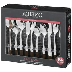 Oneida Mooncrest 45 Piece Set Flatware Service Stainless Ser