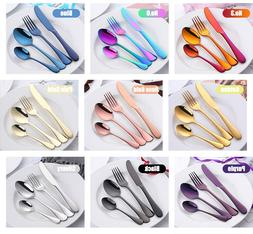 multi color stainless steel flatware 4 piece