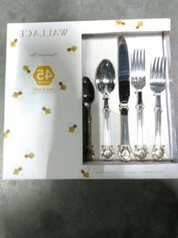Wallace Napolean Bee Gold Accent 45 Piece Flatware Set