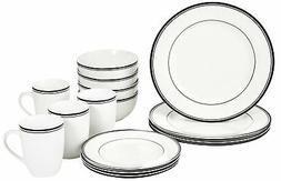 New AmazonBasics 16-Piece Cafe Stripe Dinnerware Set, Servic