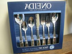 New! Oneida 42 Piece Set Service For 8 Flatware - ELLIS