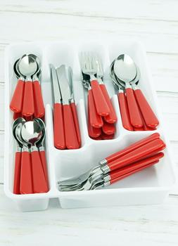 New 48pc Red Stainless Steel Flatware Set Silverware Fork Bu