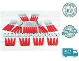 new 48pc red stainless steel flatware set
