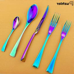 Rainbow Colorful Flatware 18/10 Stainless Steel Spoon Steak