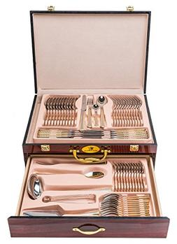 Royal Flatware RF8696, 'Gold/Satin' 65-Piece Premium Surgica