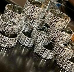 Rhinestone napkin ring 12 pieces, silver, bling.