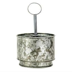 Boston Warehouse Round Galvanized Metal Flatware Caddy