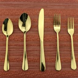 Set of 4,304 Stainless Steel Flatware Set Mirror Gold Spoon