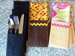 Set of 4 Fabric Flatware Pockets, Cutlery Utensil Pockets, K