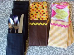 Set of 4 Fabric Flatware Pockets, Cutlery Utensil Pockets, K