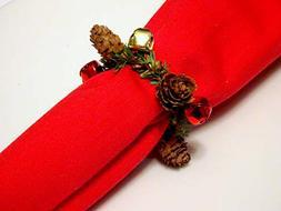Set of 6 Holiday Napkin Ring, Christmas Table decor, Jingle