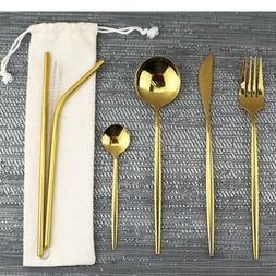 Shiny Stainless Steel Gold Flatware Set Reusable Travel Uten