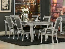 Silver Finish Dining Room Kitchen 7 piece Set Rectangular Ta