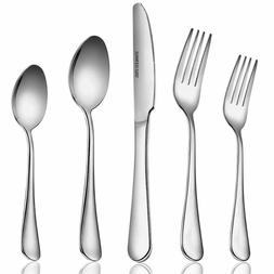 Silverware Flatware Set with Dinner Knives, Forks and Spoons