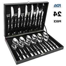 Silverware Set,Elegant Life 24-Piece Stainless Steel Flatwar