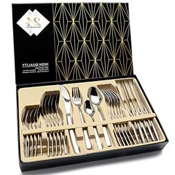 HOBO Silverware Set,24-Piece Stainless Steel Flatware Sets H