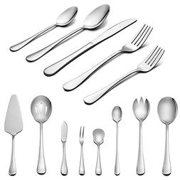 Silverware Set with Serving Pieces, LIANYU 48-Piece Flatware