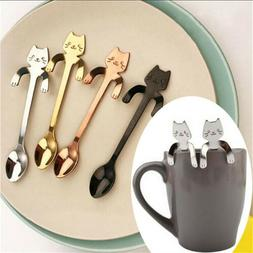 Small Mini 304 Stainless Steel Cat Kitty Coffee Stirring Spo