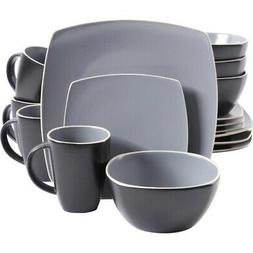 Soho Lounge Matte 16 Piece Dinnerware Set, Gray/Black