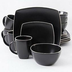 Soho Lounge Matte 16 Piece Dinnerware Set, Gray/Black