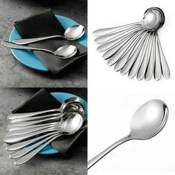 Eslite Large Soup Spoons/Stainless Steel Bouillion Spoons,12