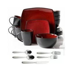 Square Dinnerware Service for 8, Plates Bowls Mugs Flatware