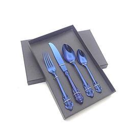 Stainless Steel Carving Handle Rainbow Dinnerware Set Emboss