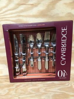 CAMBRIDGE STAINLESS STEEL FLATWARE SET SERVICE 40 PIECES FOR