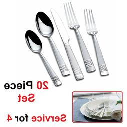 Stainless Steel Flatware Set ; Silverware for Service for 8