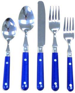 Stainless Steel LePrix 20 Piece Flatware Set in Blue