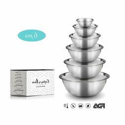 Stainless Steel Mixing Bowls – Set of 6 Premium Quality Ki