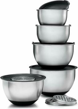 Stainless Steel Mixing Bowls Set With Lids 3 Graters Dishwas