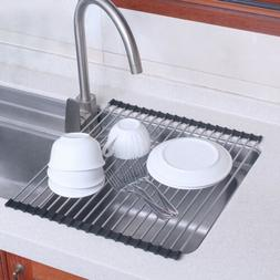 Stainless Steel Roll-Up Dish Drying Rack Kitchen Over Sink H
