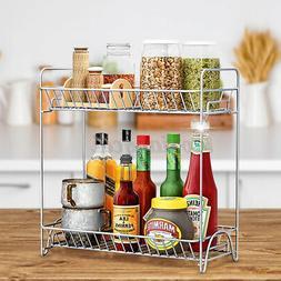 Stainless Steel Spice Rack 2 Tier Kitchen Storage Organizer