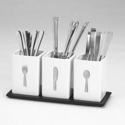Stoneware Flatware Caddy byTowle Silver • Perfect for Ev