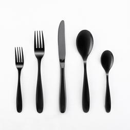 Black Sturdy 20 pc Flatware Knife Spoon Fork Set Cutlery Sta
