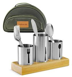 Utensil Caddy with Silverware Cutlery Holder Set Stainless S