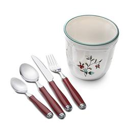 Pfaltzgraff Winterberry 16-Piece Flatware Set with Caddy