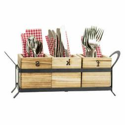 Boston Warehouse Wood & Metal Flatware Caddy