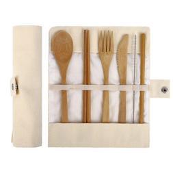 Wooden Utensils bamboo Travel Cutlery Set Reusable Utensils